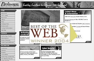 Design that won Best of the Web Award, 2004.